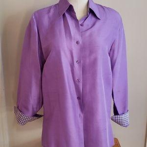 FOXCROFT Purple 100% silk 💜 blouse